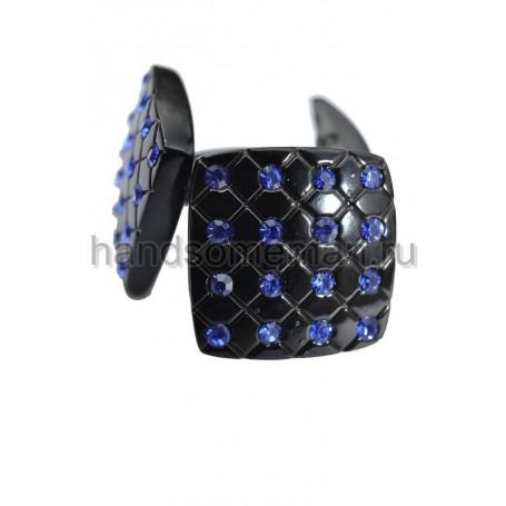 Запонки Baurotti черные с синими камнями. 400