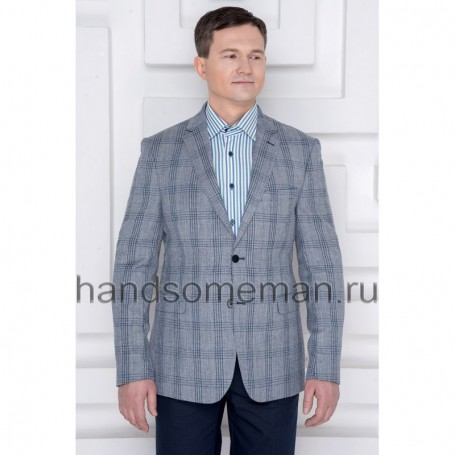 Пиджак мужской серый в клетку