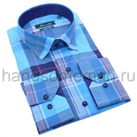 рубашка мужская голубая в клетку - Арт.1530