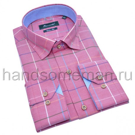 рубашка мужская розовая в клетку - Арт.1531