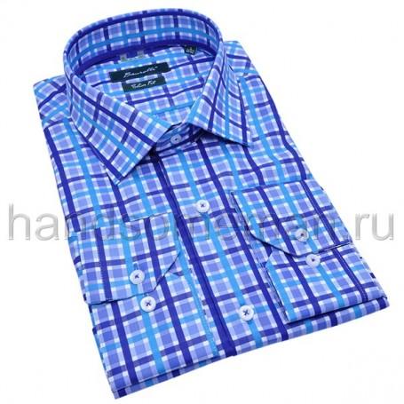 рубашка мужская синяя в клетку - Арт.1532