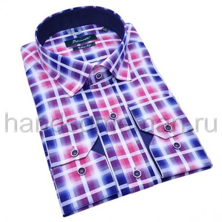 рубашка мужская сине-розовая - Арт.1533