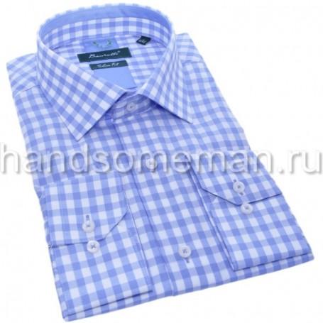 мужская рубашка голубая в клетку Арт. 1553