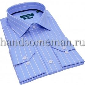 рубашка голубая в белую полоску