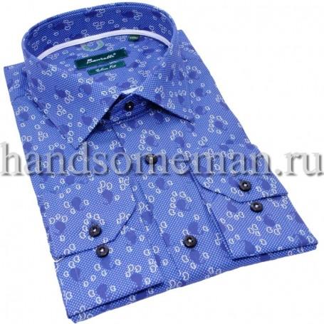 рубашка синяя с узором