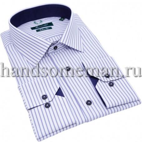 рубашка белая в синюю полоску