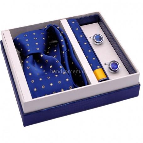подарочный набор синий галстук с желтыми точками и запонки
