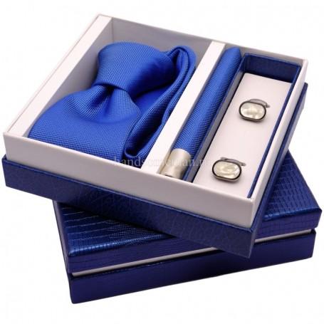 подарок для мужчины синий галстук и запонки