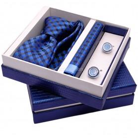 подарочный набор синий галстук и запонки