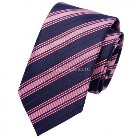 галстук синий в розовую полоску
