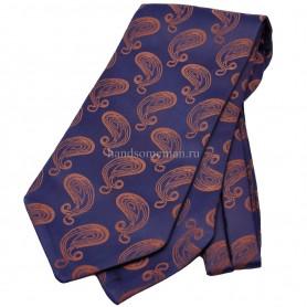 галстук синий с рисунком