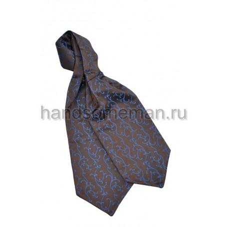 Шейный платок коричневый с синим. 423