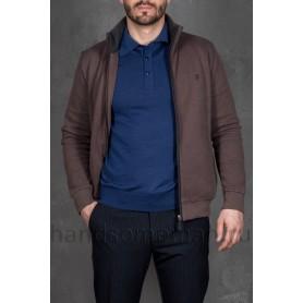 Мужской свитер на молнии серый