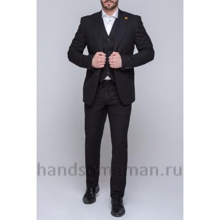 Черный мужской костюм тройка