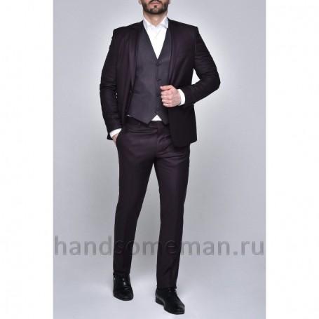 Бордовый мужской костюм тройка
