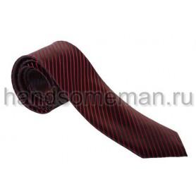 Галстук черный в красную полоску. 536