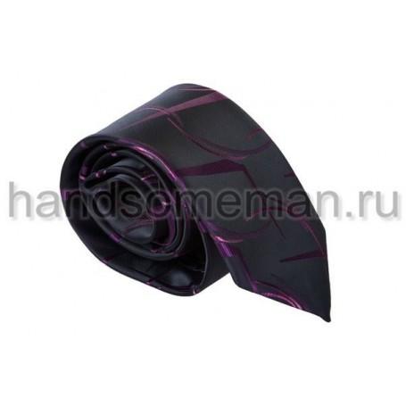 Галстук  черный с сиреневым рисунком. 542