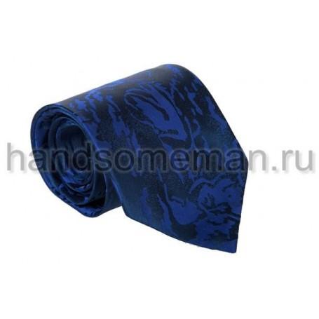 Галстук синий с черными разводами. 546