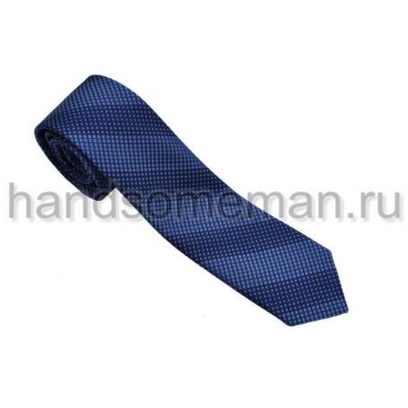 галстук синий в синюю полоску. 553