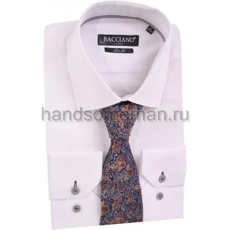 галстук синий в коричневых цветах. 593