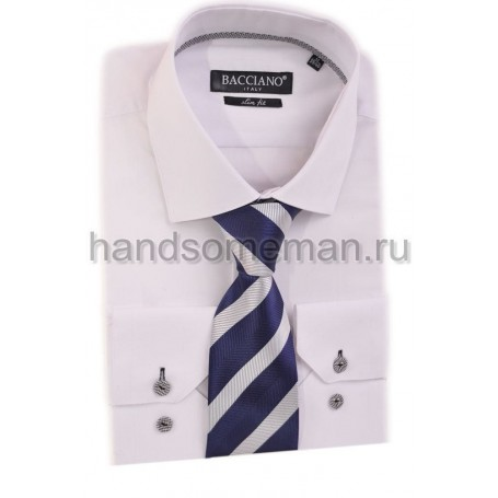 галстук синий в белую, широкую полоску. 601