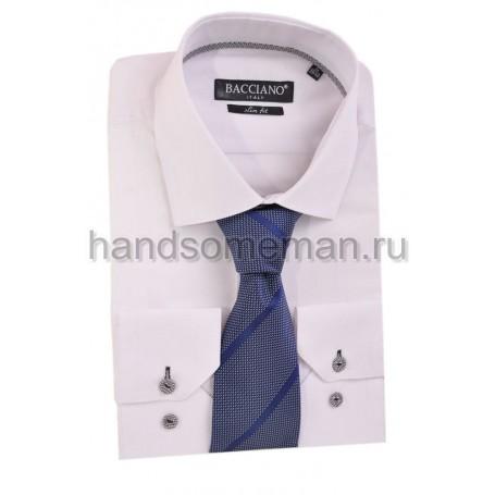 галстук серый в тонкую, синюю полоску. 602