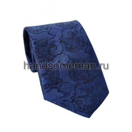 галстук, чернильный с  вензелями. 713