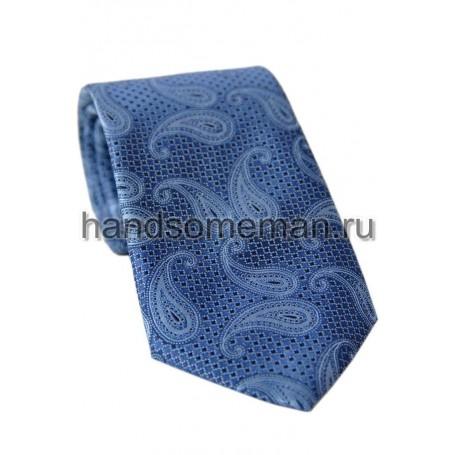 галстук с вензелями, чернильный. 714