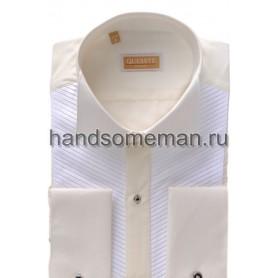 рубашка белая с кремовой отделкой. 728