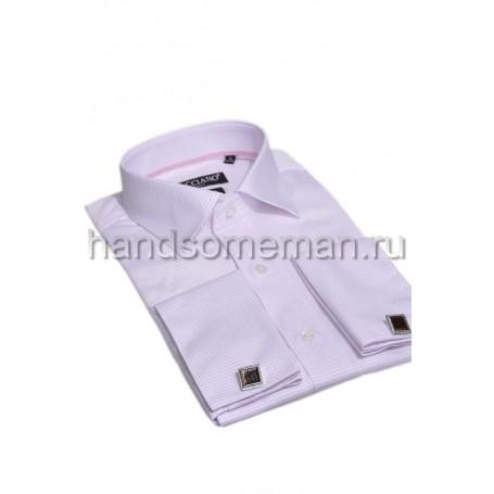 рубашка под запонки, бледно-розовая в клетку. 758
