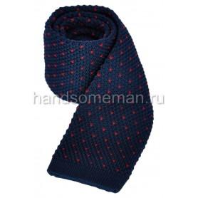 Вязанный галстук синего цвета. 866