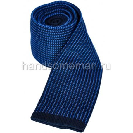 Вязанный галстук голубого цвета. 867