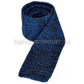 Вязанный галстук сине-черного цвета. 872
