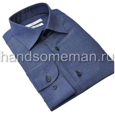 Мужская классическая рубашка синяя, меланж. 960