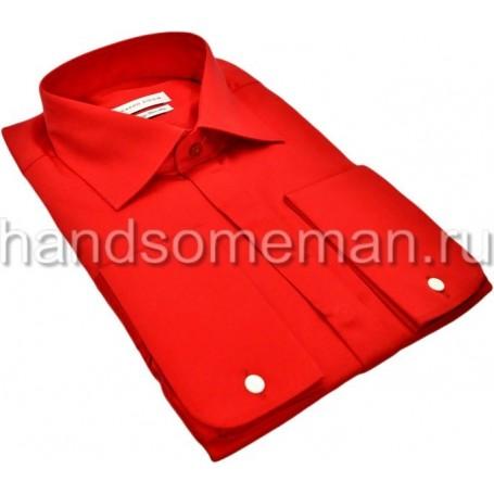 рубашка мужская, красная, под запонки. 1070