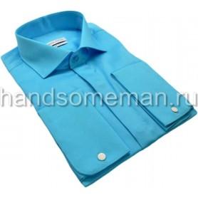 рубашка бирюзовая, под запонки. 1079