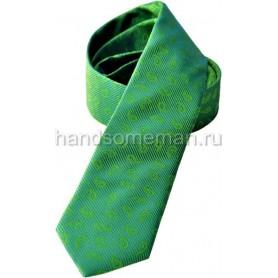 Галстук классический, зеленый с вышивкой. 1093