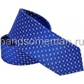 Галстук классический, яркий, синий. 1177