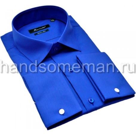 рубашка мужская, ярко-синяя, под запонки. 1188