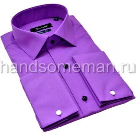 рубашка мужская под запонки, приталенная. 1189