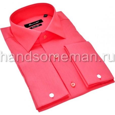 рубашка мужская под запонки, малиновая. 1195