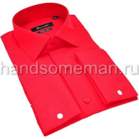 рубашка мужская под запонки, ярко красная. 1197