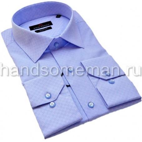 рубашка голубая из набивной ткани.