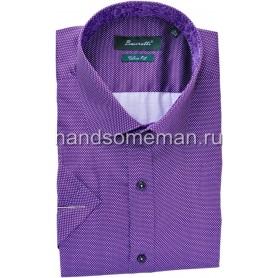 Мужская рубашка с коротким рукавом, фиолетовая. 1234