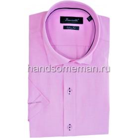 Мужская рубашка с коротким рукавом, светло-сиреневая.1235