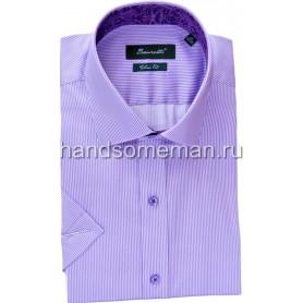 рубашка мужская с коротким рукавом, синяя с фиолетовой отделкой. 1239
