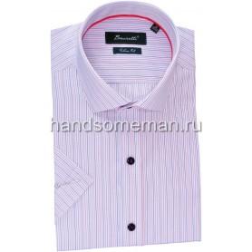 рубашка мужская с коротким рукавом, голубая в полоску. 1240