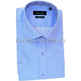 рубашка мужская с коротким рукавом, светлая бирюза. 1242
