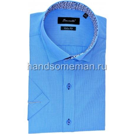 рубашка мужская с коротким рукавом, с цветастой отделкой. 1243