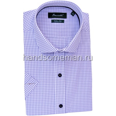 рубашка мужская с коротким рукавом, светло голубая в мелкую клетку. 1244